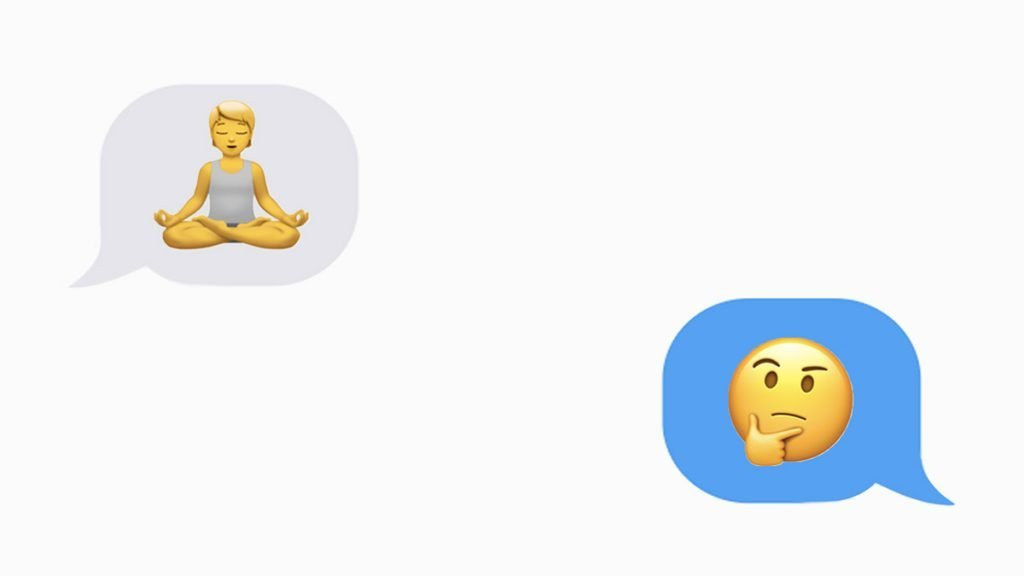 iMessage conversation of a woman in a meditating position and a thinking emoji