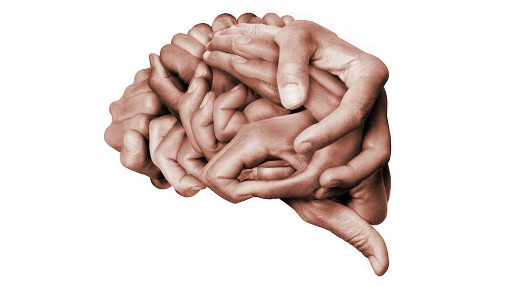 - illustration of human brain made up of hands wrapped together