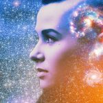 young woman looking off into the stars with cosmic illustration of a question mark made up of galaxies and star clusters