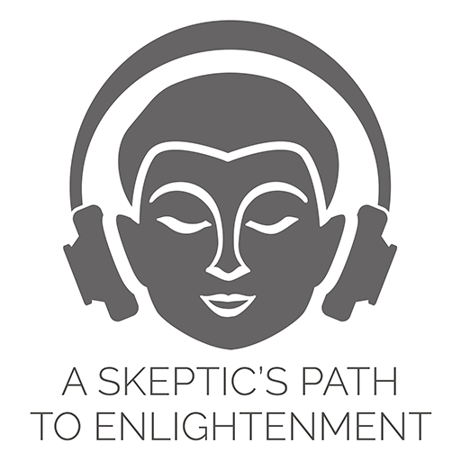 A Skeptic's Path to Enlightenment podcast logo - meditator with headphones