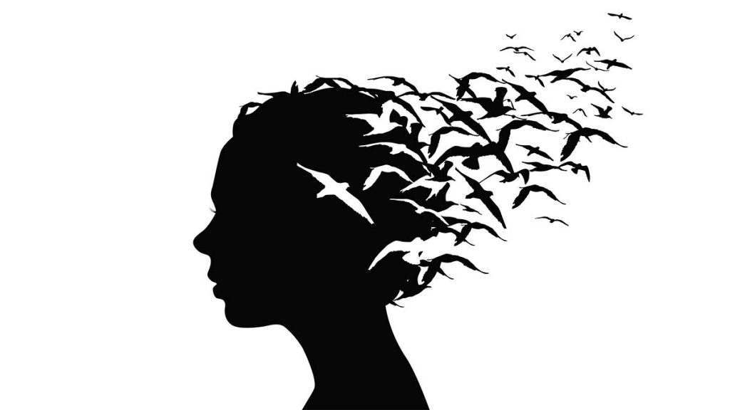 woman's silhouette profile head with hair turning into Escher birds