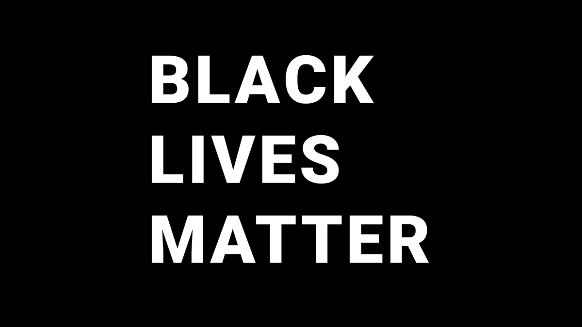 Black Lives Matter - large white all-caps text on black background