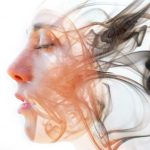 woman's head profile with smoke double exposure symbolizing tonglen meditation taking and giving