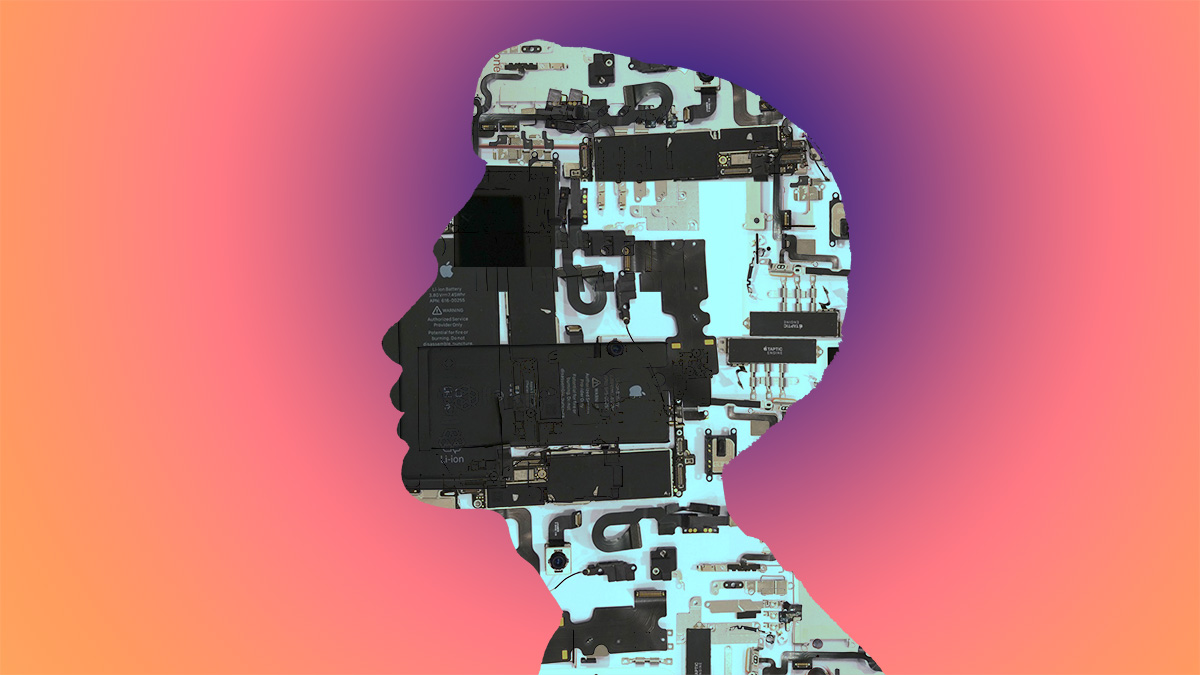 young asian man's head in silhouette meditating on parts of an iPhone