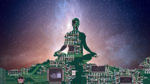 Silhouette of meditator as circuit board atop mountains with milky way galaxy