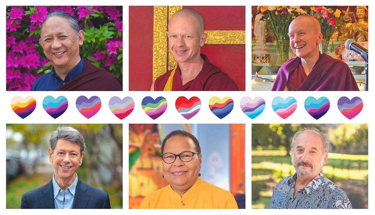 Dr. Jan Willis, Ven. Kathleen McDonald, Dr. Rick Hanson, Geshe Tenzin Namdak, and Dzigar Kongtrul Rinpoche, and Dr. Jay Garfield talk about love with a row of colorful hearts