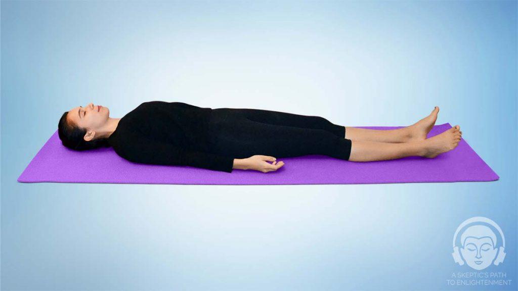Lying down meditation position